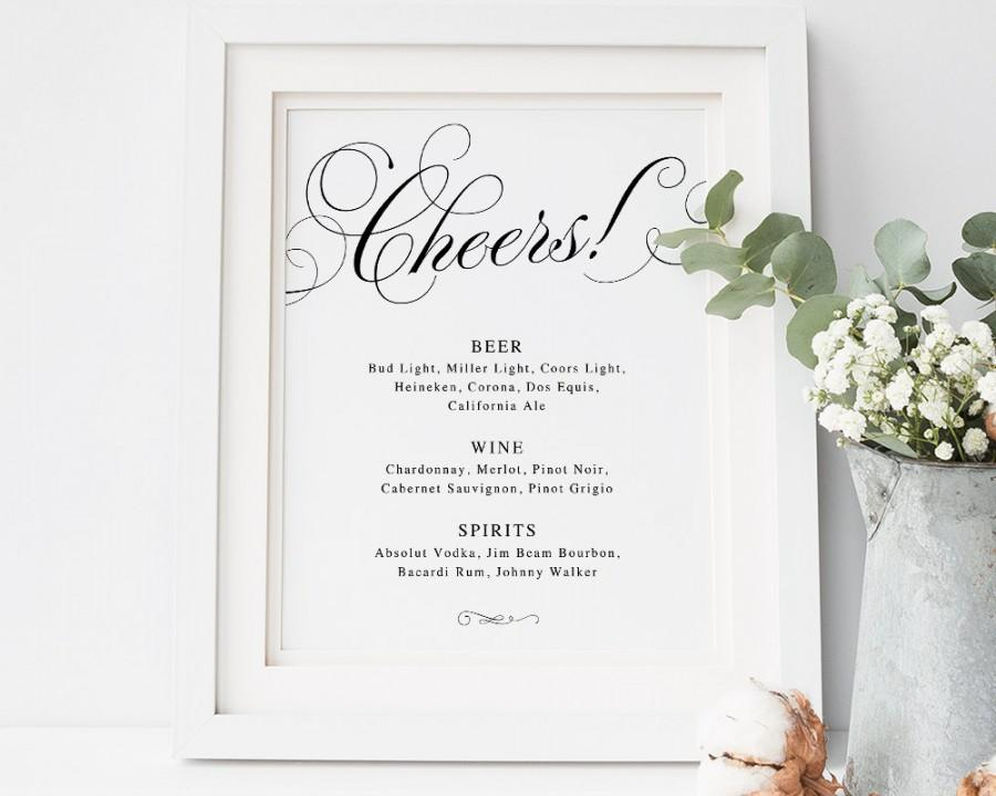Cheers bar sign bar menu sign wedding bar sign wedding for Wedding drink menu template free