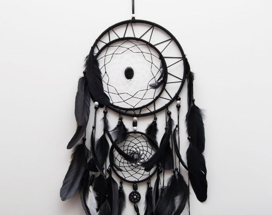 Wedding - Large Black dreamcatcher, Large Dream Catcher, Black Dream Catcher, Boho dreamcatcher, Heavenly dream, Black, White, wooden frame, feathers