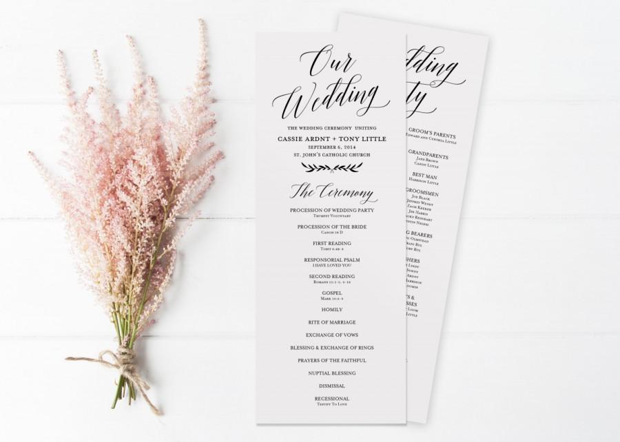 زفاف - Wedding Program Template, Printable Wedding Program, EDITABLE Text, Catholic Program, Rustic Wedding Programs Instant Download,
