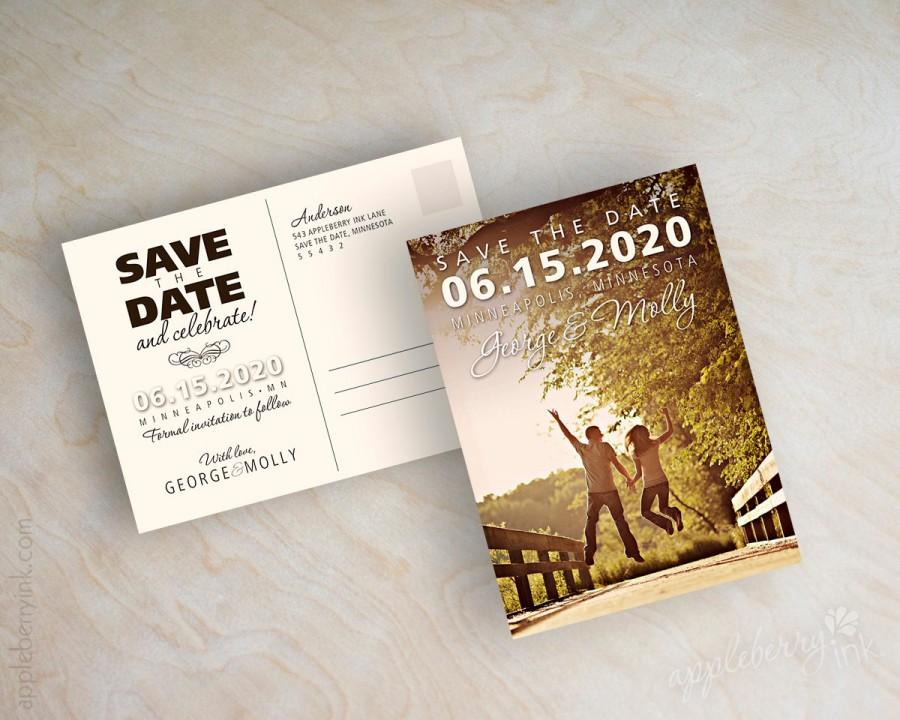 Wedding - Picture postcard save the date, custom save the date magnet, save the date photo postcard, bridge design