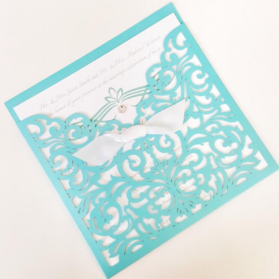Mariage - Laser Cut Wedding Invitations, Robin's Egg Blue Invites, Luxury Wedding Invitation Suite- DEPOSIT