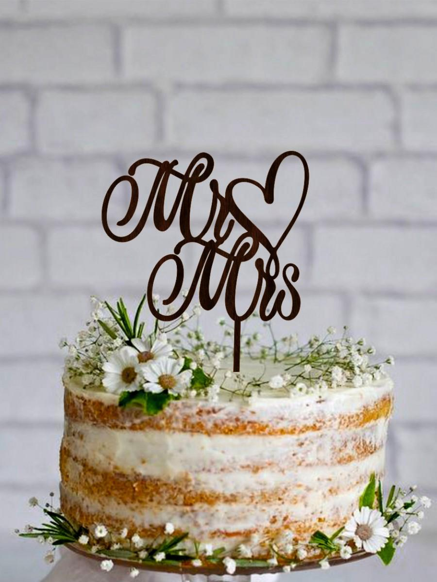 Mr Mrs Wedding Cake Topper Wooden Custom And Gold Silver