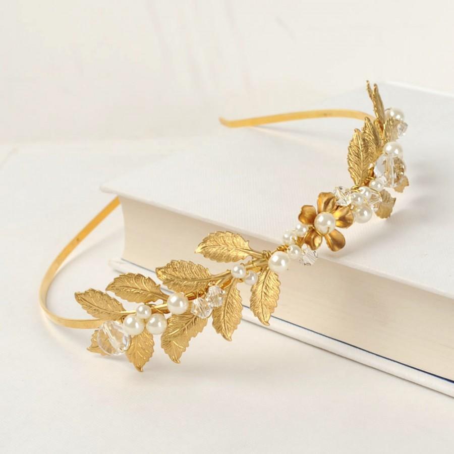 Hochzeit - Gold Headband, Grecian Leaf Crown, Laurel Hair Piece, Floral Hair Jewelry, Woodland Wedding Wreath, Rustic Bridal Headpiece, Hair Accessory