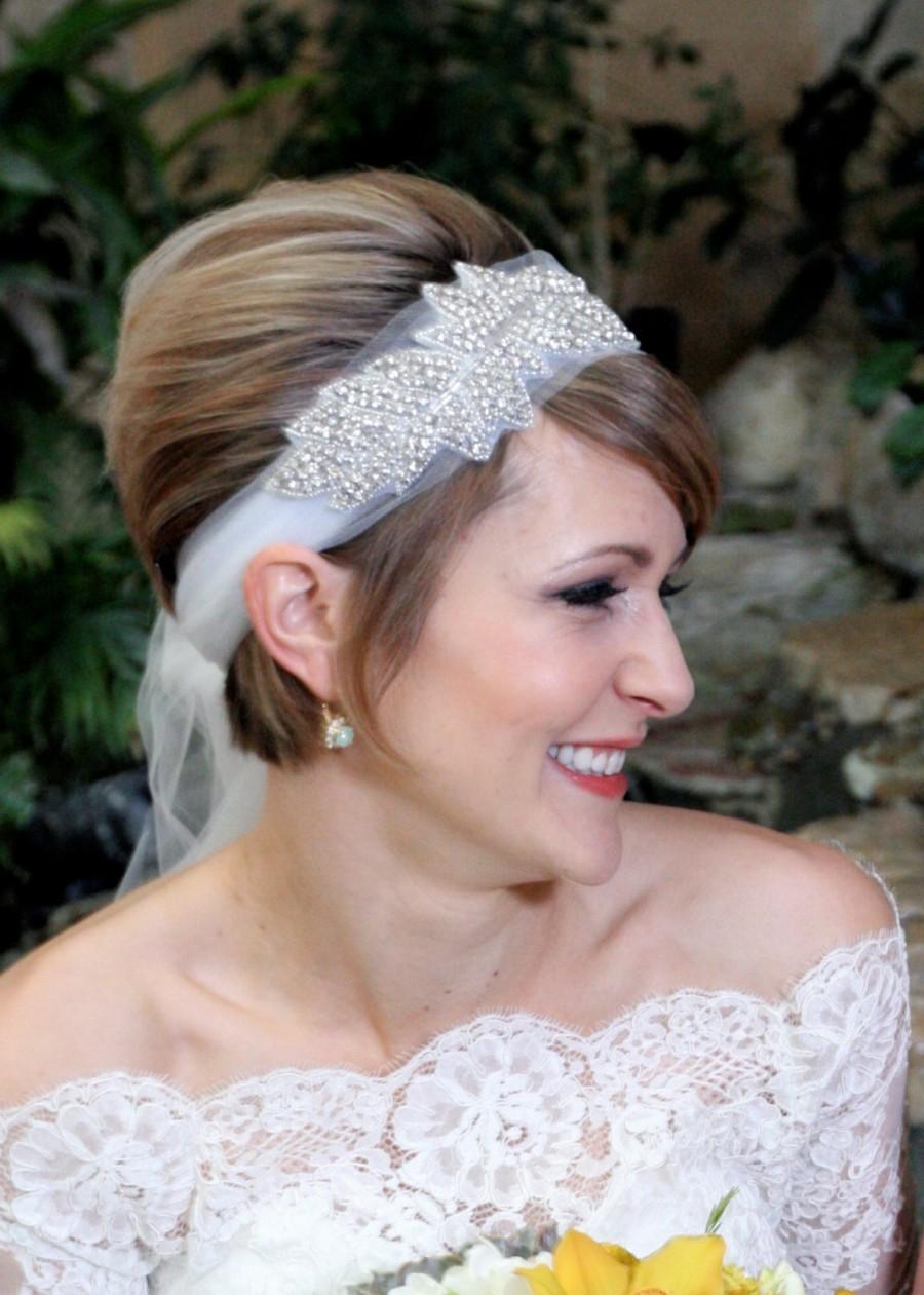 Wedding - Bridal Headpiece, BONNIE, Great Gatsby Headpiece, Bridal Headpiece, Rhinestone Leaf Headband, Crystal Headpiece,