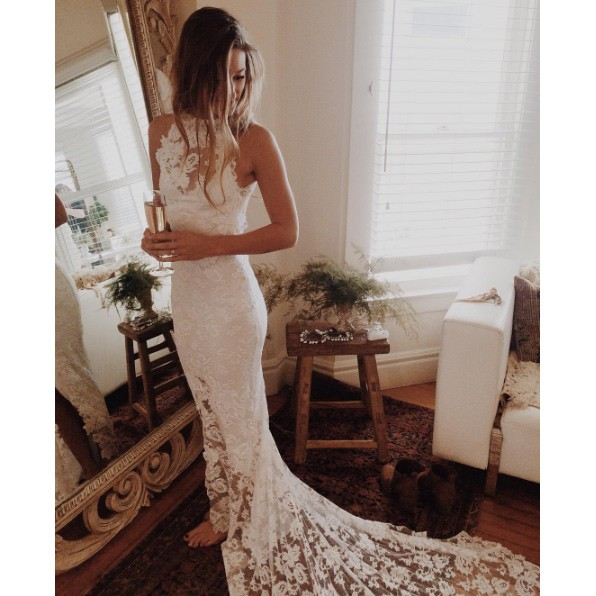 Свадьба - Sexy Long Halter Backless Lace Mermaid Wedding Dresses