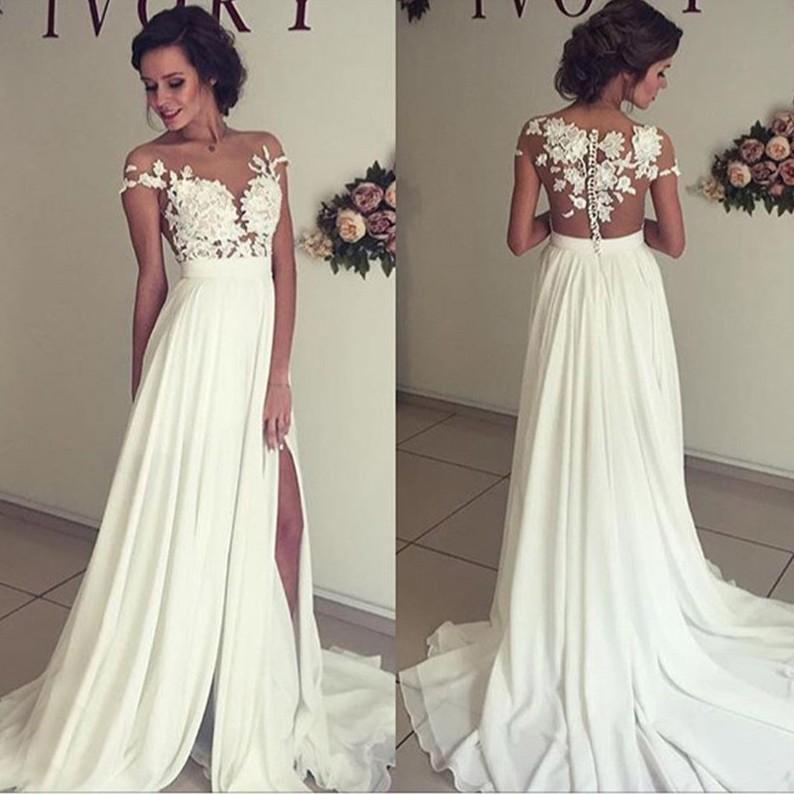 Hochzeit - Sexy A-Line Split Side Sheer Neck Long Wedding Dress Bridal Gown with Lace