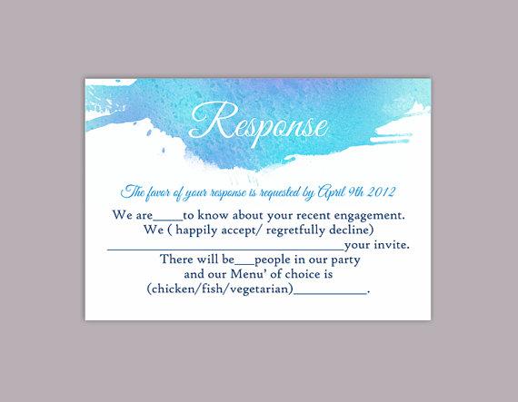 Wedding - DIY Watercolor Wedding RSVP Template Editable Word File Instant Download Rsvp Template Printable RSVP Cards Blue Rsvp Card Purple Rsvp