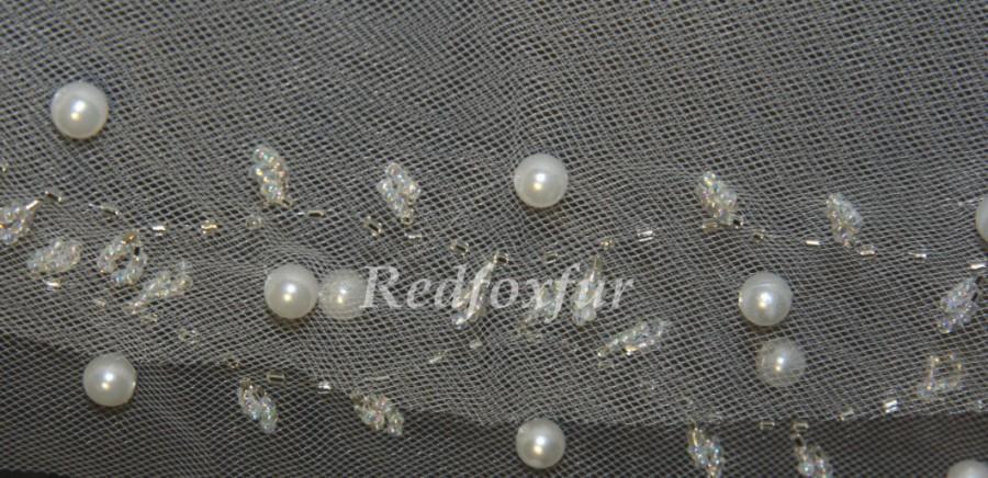 Mariage - Cut Edge Veils beaded veil, two layers of pearl bridal veil - beautiful beaded wedding veil white ivory veil