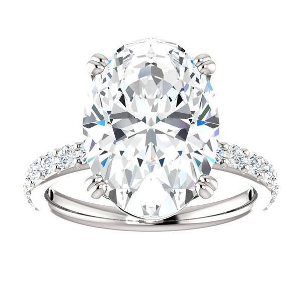 Wedding - 7 Carat Oval SUPERNOVA Moissanite & Diamond Engagement Ring