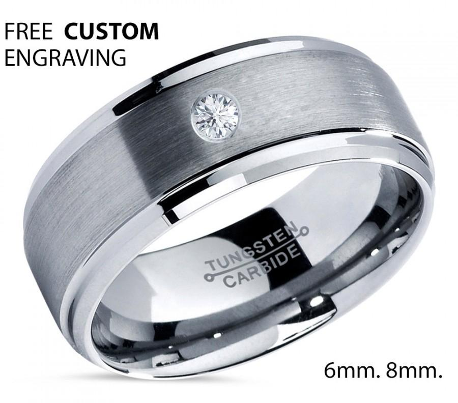 Mariage - Tungsten Wedding Band,Tungsten Wedding Ring,White Diamond Ring,Tungsten Carbide,Mens Tungsten Ring,Unisex,Engagement Band,Anniversary,8mm