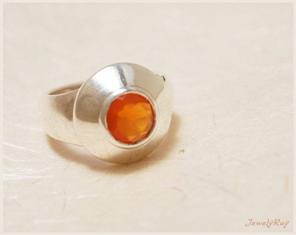 Mariage - Unique Engagement ring - Sterling silver and Carnelian ring, Wide everyday ring, Orange ring, Everyday ring, Promise ring, Anniversary gift