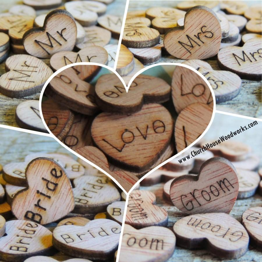 Wedding - 500 Wood Heart Confetti Combo Pack Wood Hearts, Wood Confetti Engraved Hearts- Rustic Wedding - Table Decorations- Love Mr Mrs Bride Groom