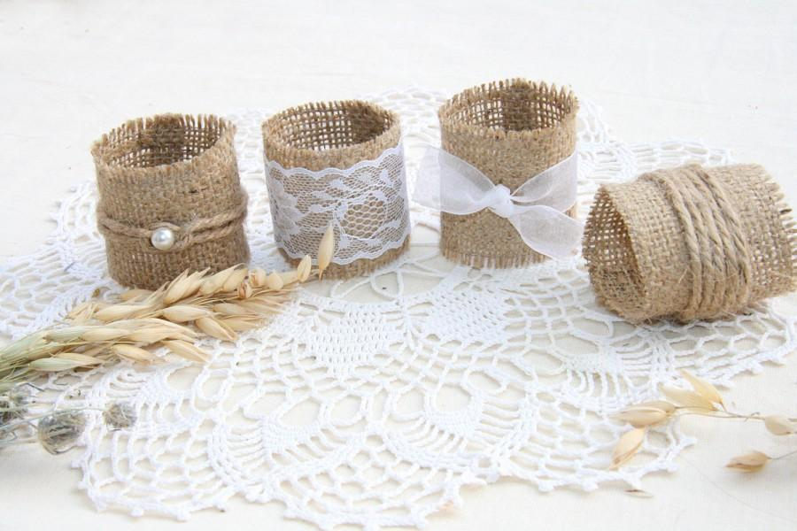 Burlap Wedding Napkin Rings Rustic Wedding Decor Rustic Wedding