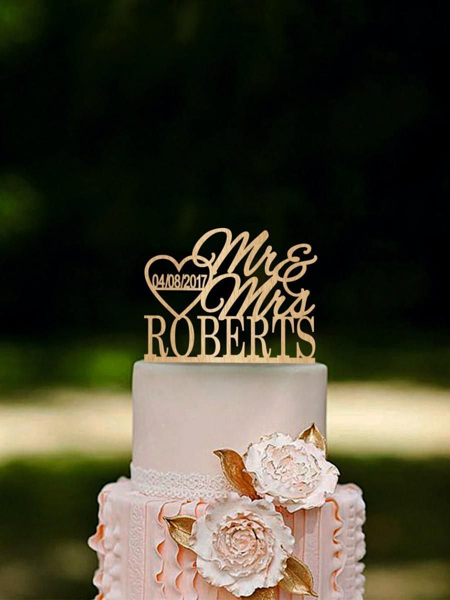 Mariage - Wedding Cake Topper Last Name Mr Mrs Personalized Rustic Cake Topper Gold cake topper Silver cake topper
