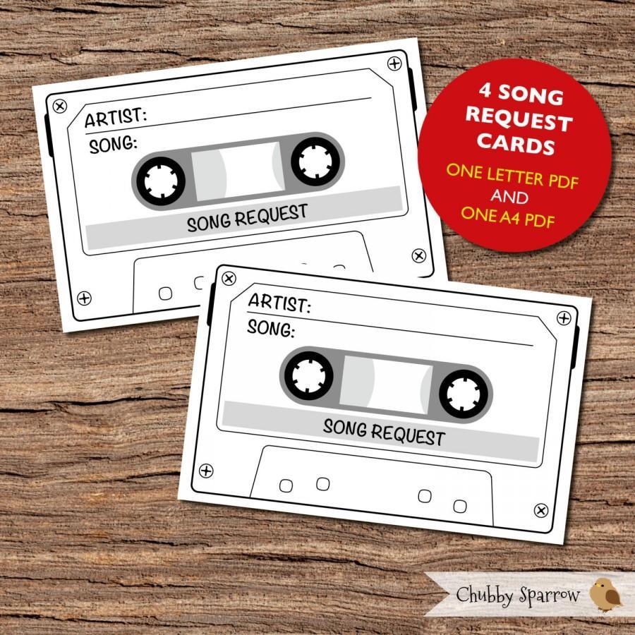 زفاف - Song Request Cards, Large Size Printable Wedding/Birthday Party - Instant Download - Rustic Retro Reply RSVP card