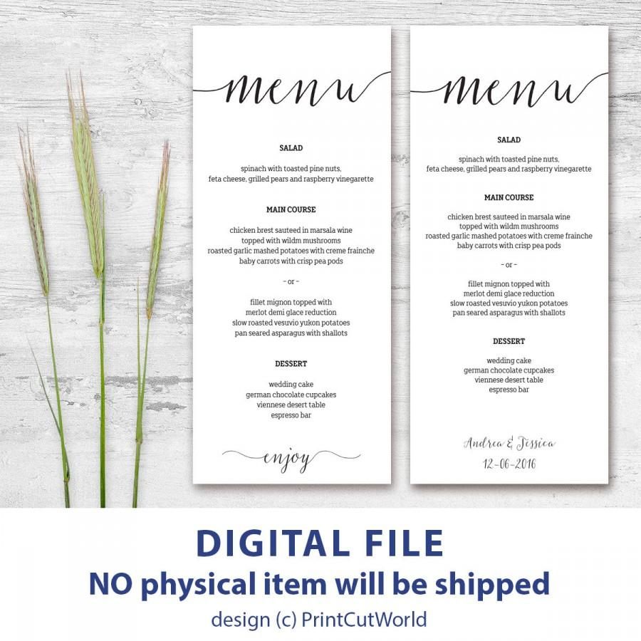 Printable menu card 4x9 rustic wedding menu template for Wedding drink menu template free