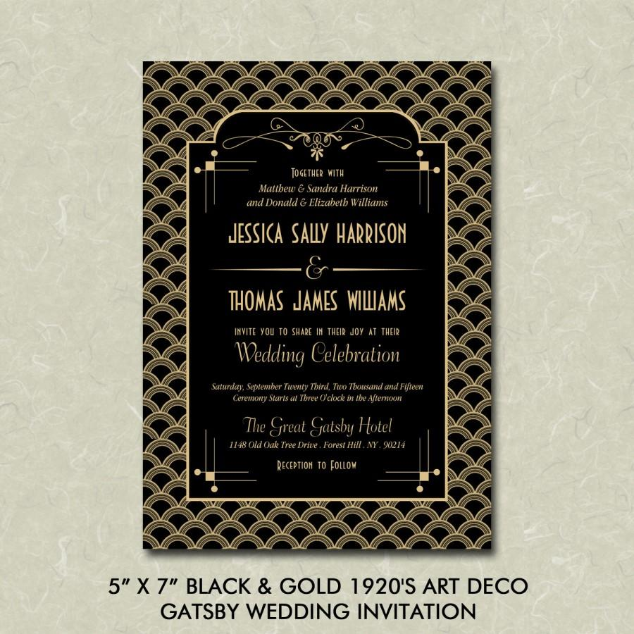 """زفاف - 5"""" x 7"""" Black & Gold 1920's Art Deco Gatsby Wedding Invitation Digital File"""