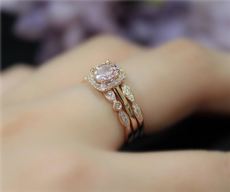 3 Rings Set Natural Vs Morganite Diamonds Ring Set For Engagement