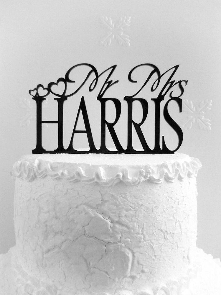 Mariage - Mr and Mrs Harris Wedding Cake Topper