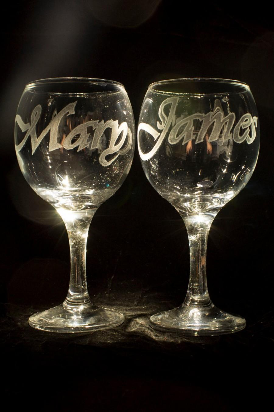 Mariage - Personalized Wine Glasses Hand Engraved Custom Wedding Glasses Toasting Glasses Wine Glasses, House Warming Wedding Gift Decorations