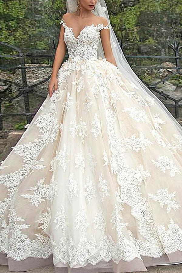 Mariage - Stunning V-Neck Cap Sleeves Ball Gown Floor Length Wedding Dress