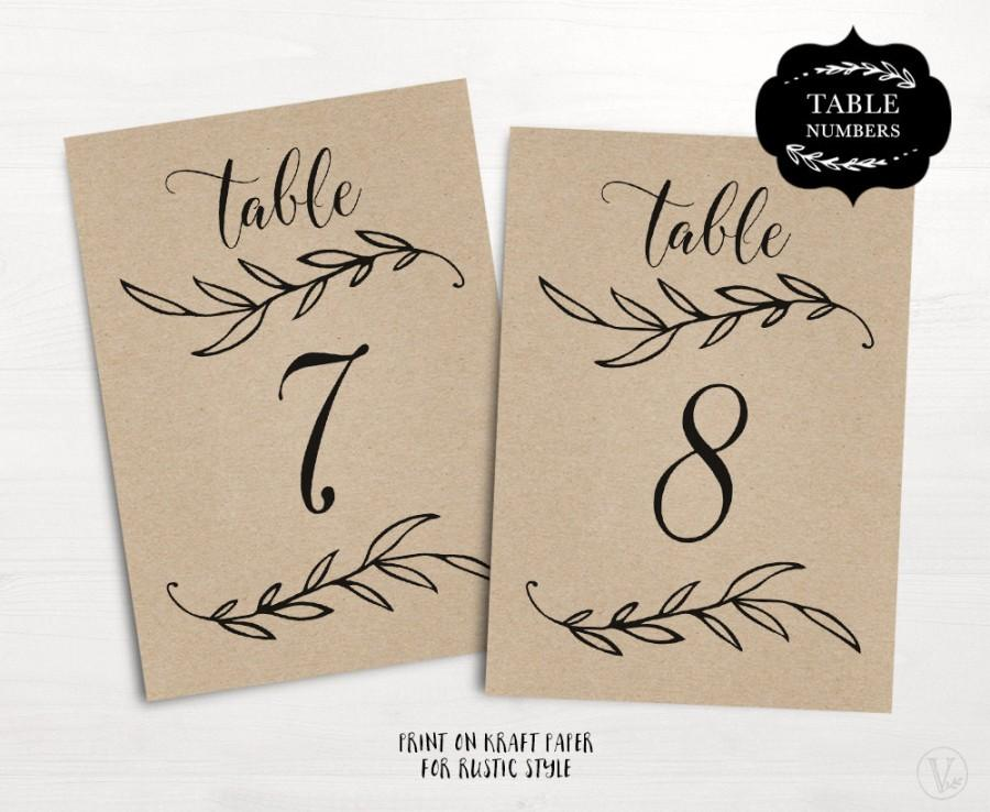 Mariage - Wedding Table Numbers 1–40, Rustic Wedding Table Numbers Template (Flat), Reserved and Head Table Signs Included, 2-sizes: 5x7 and 4x6, TN09