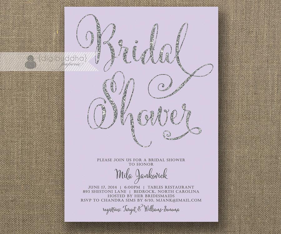 زفاف - Lilac & Silver Glitter Bridal Shower Invitation Pastel Purple Lavender Hens Party Modern FREE PRIORITY SHIPPING or DiY Printable - Mila