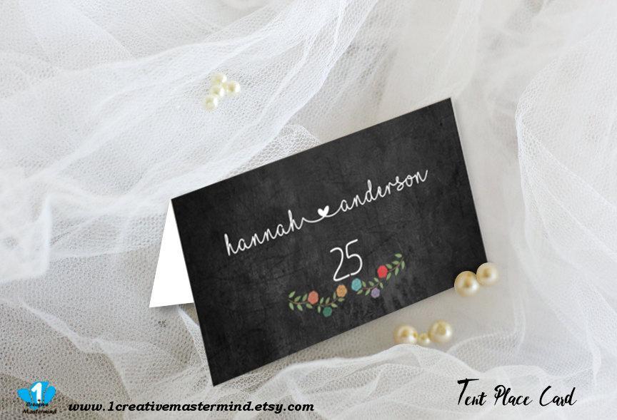 زفاف - DIY Chalkboard Floral Wedding Tent Place Card Template, Flat Escort Card, name card,Editable Printable, Digital Instant Download, 1CM91-1