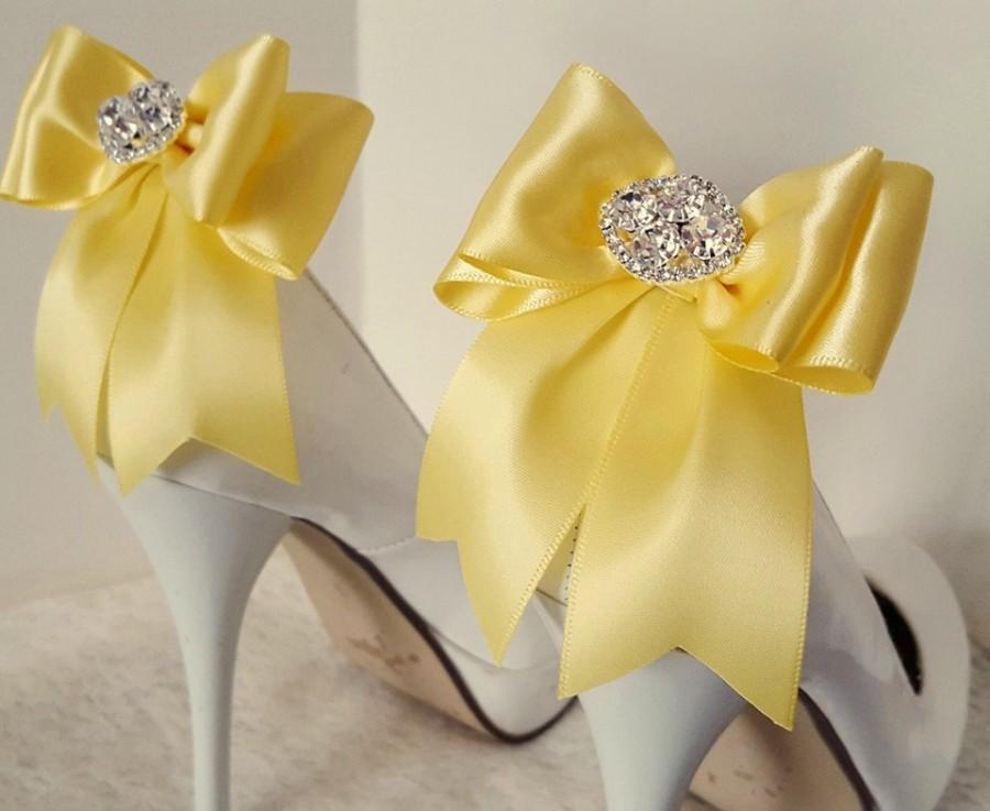 Wedding - Wedding Shoe Clips,Bridal Shoe Clips, Rhinestone Shoe Clips,Bright Yellow,MANY COLORS, Bow Shoe Clips, Clips for Wedding Shoes, Bridal Shoes