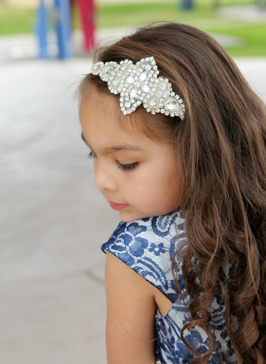 Wedding - Crystal Wedding Hairpiece, Flower Girl Headband, Rhinestone Bridal Headband, Wedding Headband, Crystal Headband, Flower Girl Hairpiece