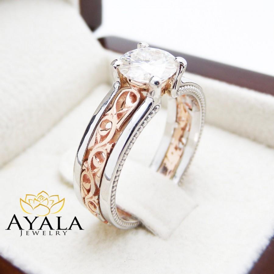 Hochzeit - Unique Art Deco Engagement Ring 14K Two Tone Gold 1 Carat Moissanite Ring Art Deco Moissanite Engagement Ring
