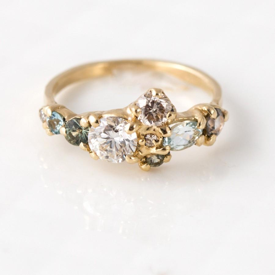 Свадьба - Sea Glass Cluster Ring in 14K Yellow Gold with Mossy Sapphires, Pale Blue Aquamarine, and Champagne Diamonds