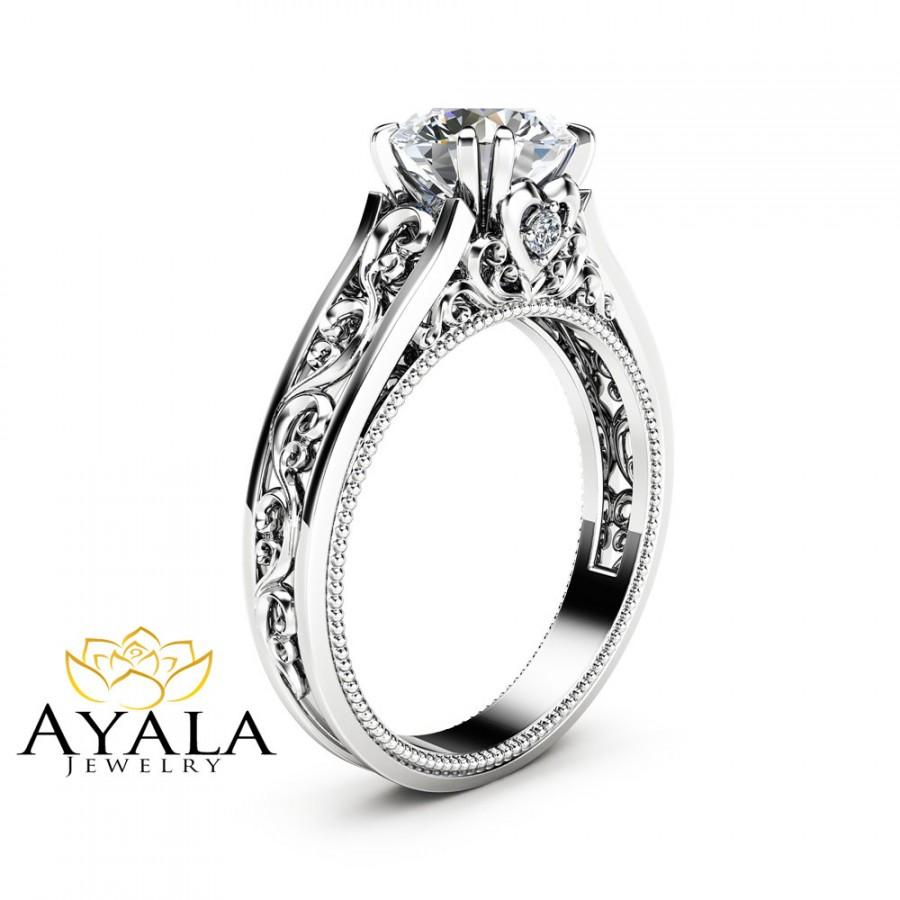 Свадьба - White Gold Moissanite Engagement Ring Milgrain Moissanite Ring Vintage Engagement Ring