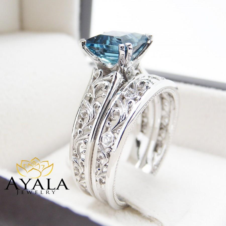 London Blue Topaz Engagement Ring Set Princess Cut Topaz Bridal Set Unique  14K White Gold Rings Art Deco Styled Ring Set