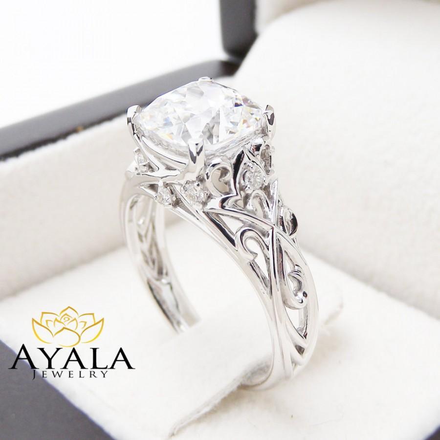 Свадьба - Cushion Moissanite Engagement Ring 14K White Gold 2CT Moissanite Ring Filigree Engagement Ring