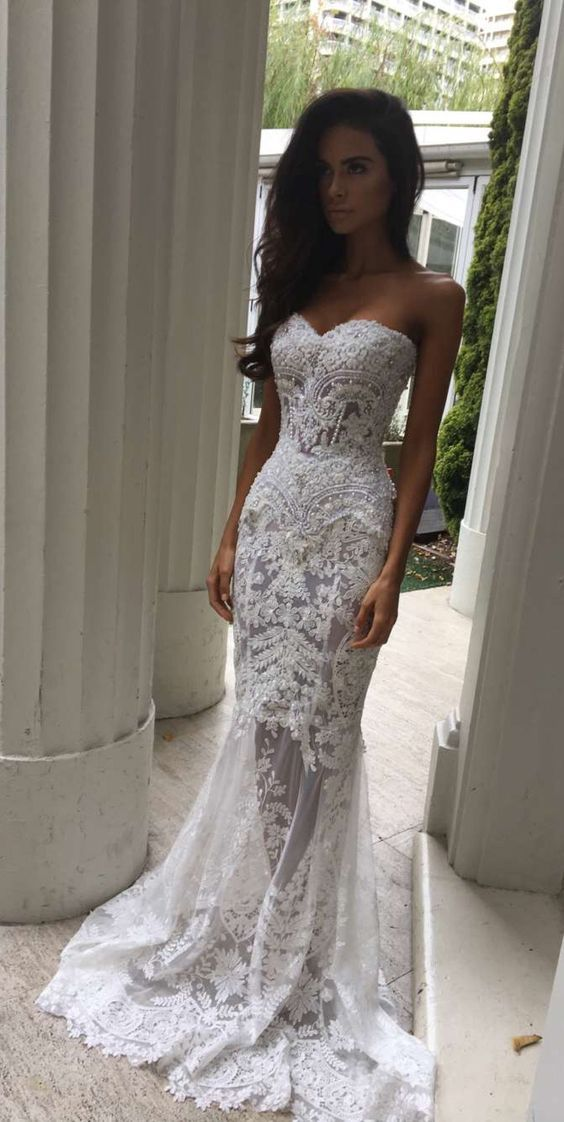 Charming White Lace Wedding Dress S