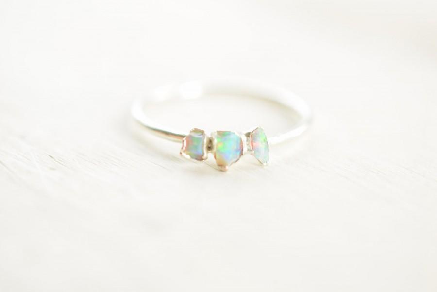 Свадьба - Raw opal ring - Three stone opal ring - Opal ring - Engagement ring - Rough opal ring - Australain opal ring - Modern Boho