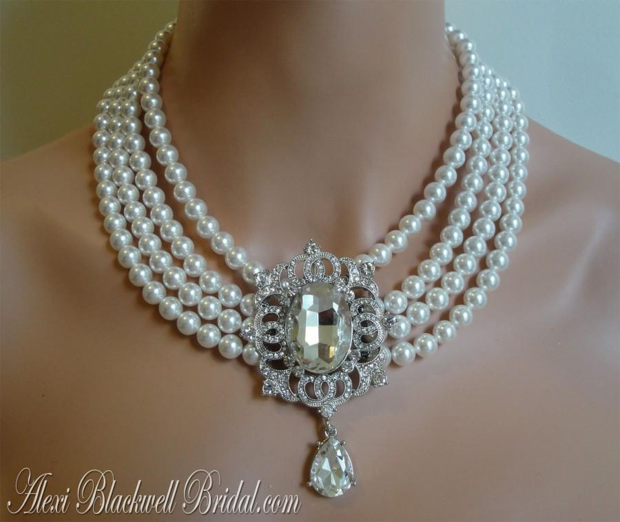 Свадьба - Princess Wedding Necklace with Rhinestone Brooch and 4 multi strands of Swarovski Pearls Bridal wedding jewelry mother of the bride gift