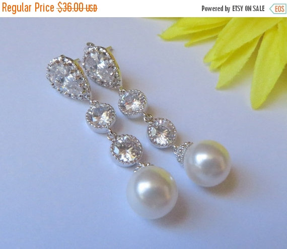 Свадьба - Wedding Jewelry, Long  Bridal Earrings,Bridal Jewelry, Teadrop CZ, White Swarovski Pearl, Bride Earrings,Bridal Earrings,Free US Shipping