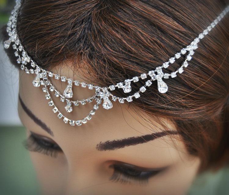Wedding Tikka Headpiece Indian Inspired Crystal Jewelry Bridal