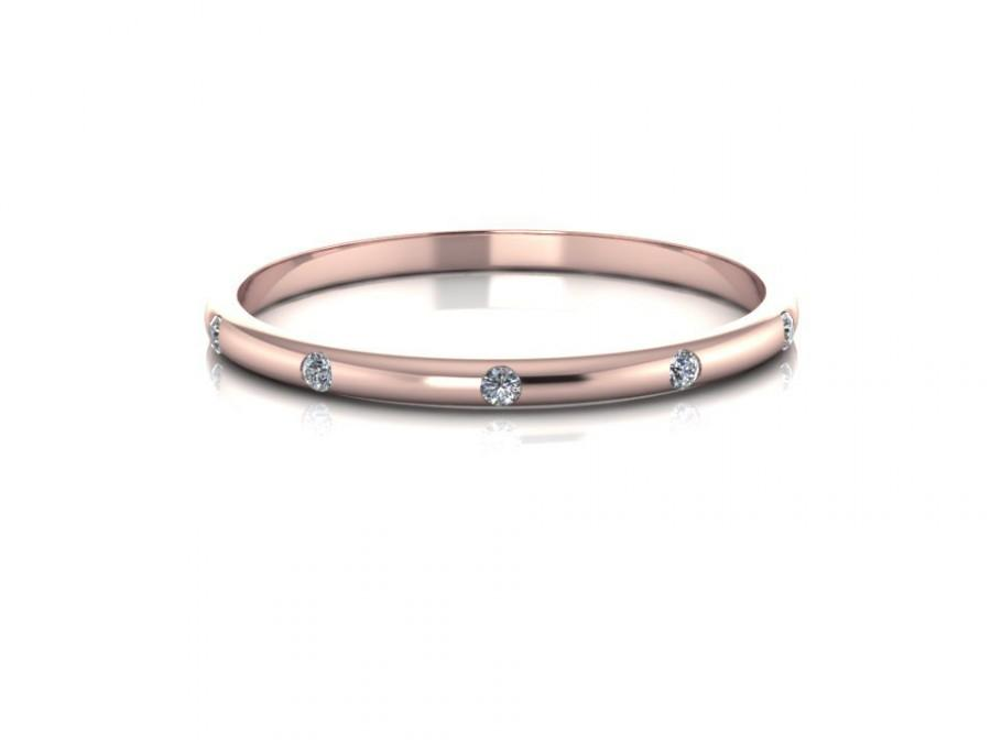 wedding gold delicate space diamonds simple media diamond band rose apart bands stackable ring five