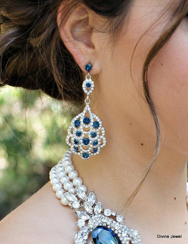 زفاف - Bridal Earrings,Wedding Rhinestone Earrings,Bridal Rhinestone Earrings,Something Blue Earrings,Crystal Earrings,Chandelier Earrings,SUSANE