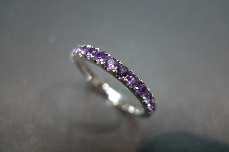 Свадьба - Amethyst Wedding Ring in 14K White Gold