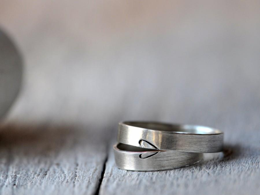 Mariage - Heart Silver Wedding Bands, two half heart rings, engagement, anniversary,wedding, friendship.