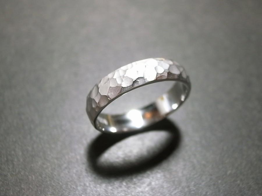 hammered white gold wedding band. mens hammered wedding band / ring/ gift for men anniversary gifts 14k white gold ring