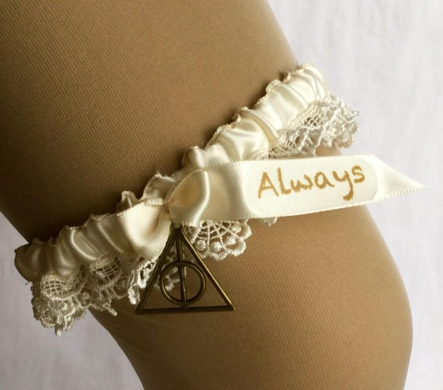 "Hochzeit - Harry Potter, wedding garter, ""Always"" // Brass Deathly Hallows charm // Ivory Ribbon and Lace // Literary Theme"
