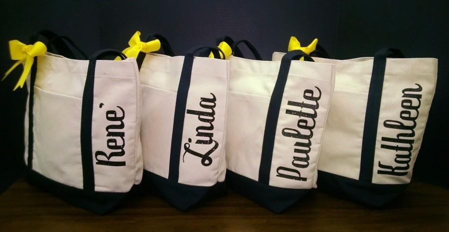 Wedding - Set of 6 Canvas Tote Bags Personalized Shimmer Vinyl Names