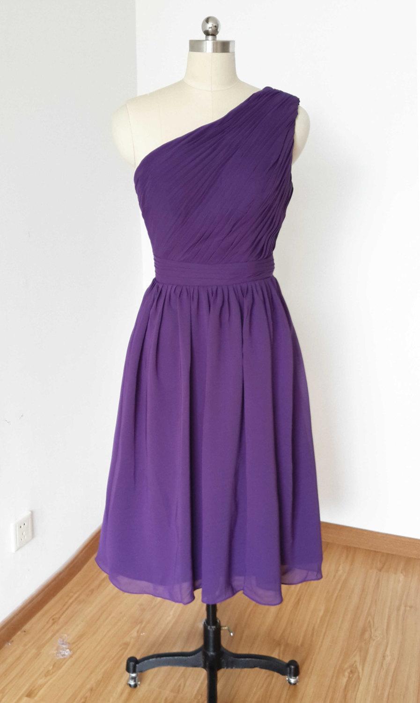 زفاف - 2015 One-shoulder Dark Purple Chiffon Short Bridesmaid Dress