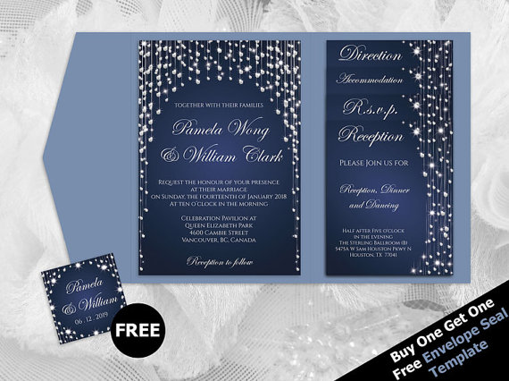image relating to Pocket Pattern Printable known as Do-it-yourself Printable Marriage ceremony Pocket Fold Invitation Established A7 5 X 7