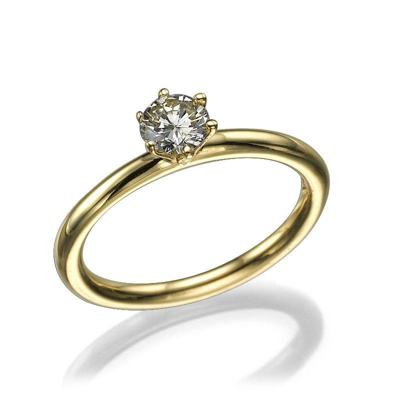 Mariage - Solitaire Ring Unique Engagement Ring, 14K Yellow Gold Ring 0.21CT Classic Engagement Ring, Delicate Gold Ring Art Deco Ring, XMAS Gift